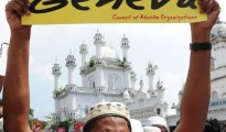 Sri Lankan Muslims take part in a protes