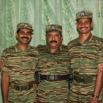 LTTE leader Velupillai Pirapaharan with Tamileelam Air Force (TAF) Black Tiger pilots Col. Rooban and Lt. Col. Siriththiran