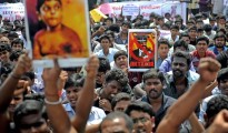 Demonstrators in Chennai, India, protest against continuing war crimes against Tamils in Sri Lanka