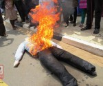 Burning of Sumanthiran's effigy-Feb 21, 2015